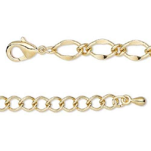 Bright Gold Oval Link Chain Bracelet 7.5 Inches Lobster Clasp Closure Extender ()