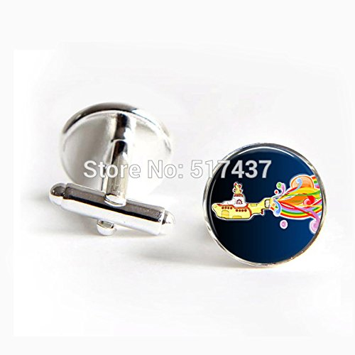 Dev Love Round Silver Cufflinks Men Shirt Cuffs Button Beatles Yellow Submarine Cufflinks Cuff Links Designer Brand