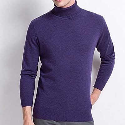 IYSI Suéter para Hombre Cuello Alto Camisa de Solapa Caliente Jersey de Punto Básico Manga Larga Jersey de Lana 100% Pura,Púrpura,XXL: Amazon.es: Deportes y aire libre