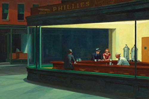 Nighthawks Painting by Edward Hopper Phillies Diner Night Hawks Famous Painter Cool Wall Decor Art Print Poster 36x24