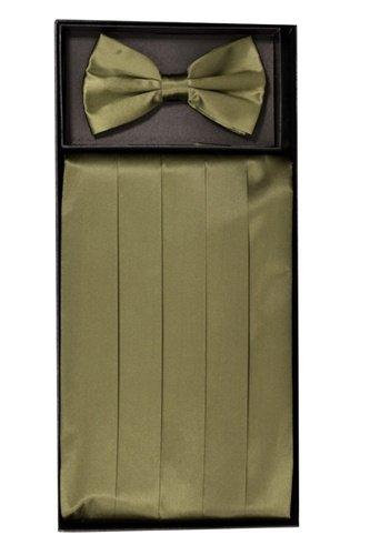 Classy Olive SILK Cummerbund and Bow Tie Set with Box