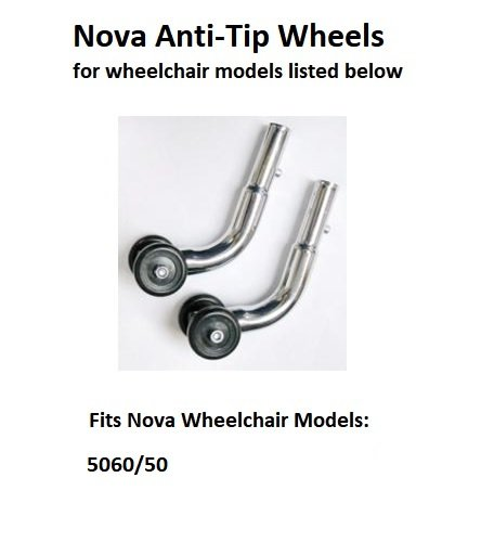Anti-Tipper Wheels for Nova 5060/50 Model Wheelchair w/Serial # ''YU'' (Pair) YU-506027