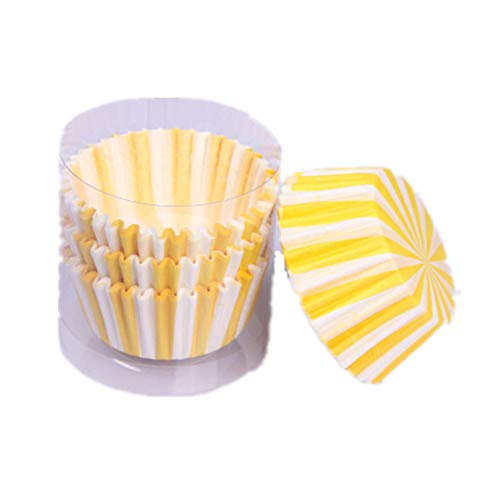 (MENGMA Cake Muffin Cup Greaseproof Papers Yellow Stripes Pattern Cupcake Wrapper Paper 100Pcs)