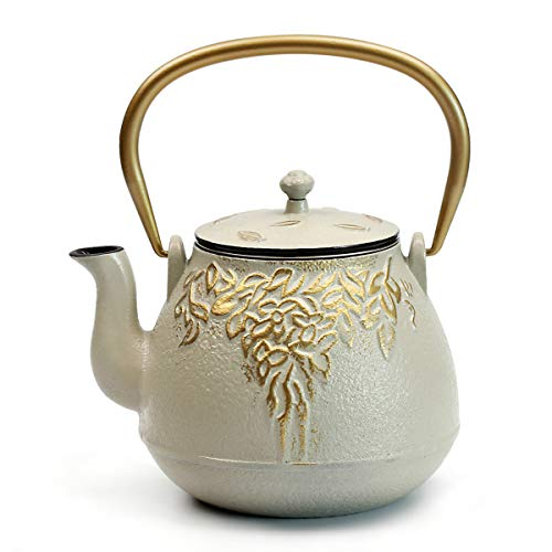(Tea Kettle, TOPTIER Japanese Cast Iron Teapot with Stainless Steel Infuser | Cast Iron Teapot Stovetop Safe [Leaf Design Tea Kettle] Coated with Enameled Interior for 32 Ounce / 950 ml, Warm Beige)