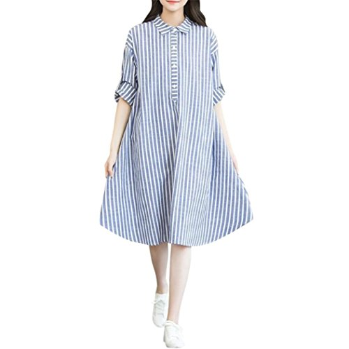 (Voberry@ Striped Dresses for Women Maternity, Women's Summer Casual Stripe Elastic Waist Polo-Neck Dress)