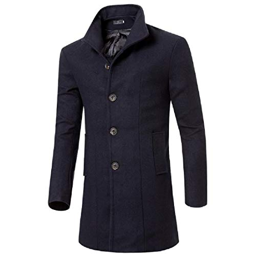 Howme Turn Navy Single Jacket Collar Solid Men blue Down Color Breasted Overcoat rXOrq
