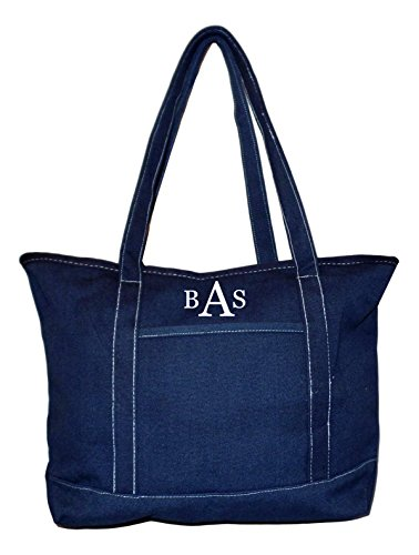 Custom Boat Bag - Rugged Heavy Duty X-Large 24 oz Cotton Canvas Zipper Top Tote Shopper Boat Bag - Custom Available (Solid Navy - Embroidered Monogram)