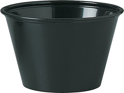 Solo Plastic Cups 4.0 oz Black Portion Container for Food, Beverages, Crafts (Pack of 250) (Black Plastic Souffle Cups)