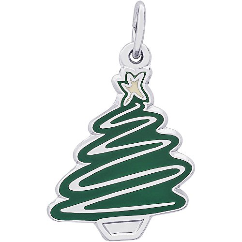 - Rembrandt Charms Sterling Silver Enamel Painted Green Christmas Tree Charm (19 x 15 mm)