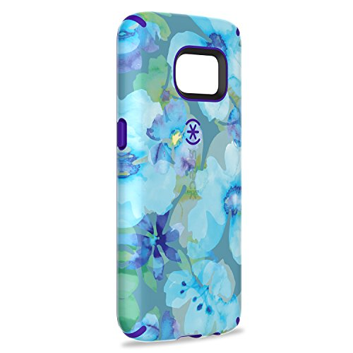 Speck Products Samsung Galaxy S7 Case, CandyShell Inked Case (Aqua Floral Blue/Ultraviolet Purple), Protective Case
