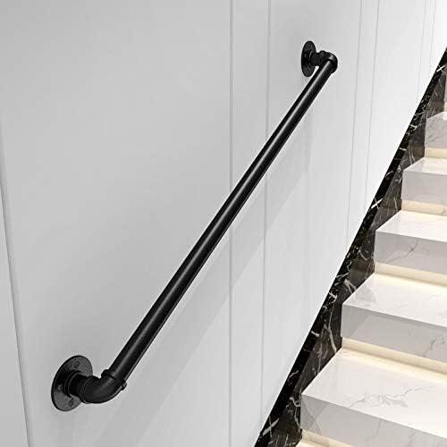 Pasamanos de escalera Soporte de pared Baranda de tubo de loft de hierro negro industrial para escaleras, niños mayores de pared Pasillo interior y exterior Pasillo Restaurante Barandilla de barandi: Amazon.es: Hogar