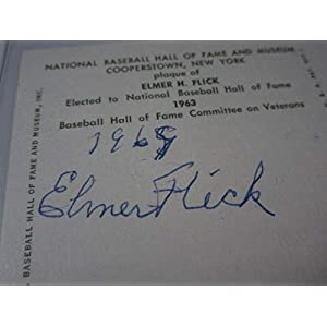 1969 Elmer Flick Indians Phillies signed Hall of Fame Plaque Postcard LOA JSA Certified MLB Cut Signatures