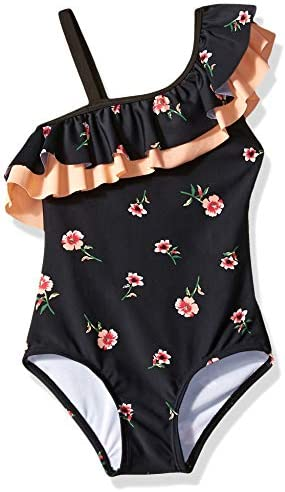 Kanu Surf Girls' Morgan Floral Ruffle One-Shoulder 1-Piece Swimsuit