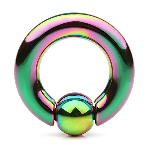 Ruifan Rainbow Plated 316L Surgical Steel Spring Action Captive Bead Ring CBR 2G 1/2 Inch