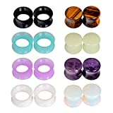 JOYTOYOU 8Pairs Combination of Stone Plugs and Silicone Tunnels Ear Stretcher Ear Gauges Piercing Jewelry 00g