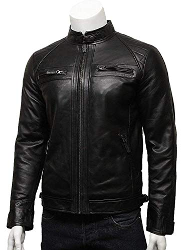 Brandslock Mens Genuine Leather Biker Jacket Motorcycle Distressed Vintage (L, Black)