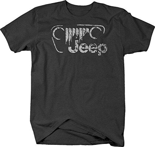 OS Gear Distressed - Jeep Vintage Off Road Grill Logo JK TJ CJ Tshirt - Large