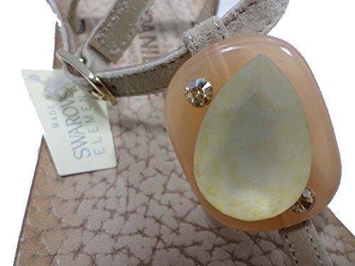 EDDY DANIELE 37 EU Sandalias Chanclas Mujer Beige Gamuza / Cristales Swarovski AW290