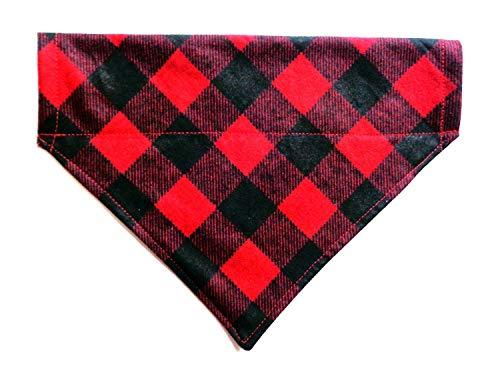 Flannel Red Black Buffalo Festive Plaid Dog Bandana, Slip-On No-Tie Doggie neckwear Petwear, Holiday Pet over the collar reversible - Holiday Neckwear