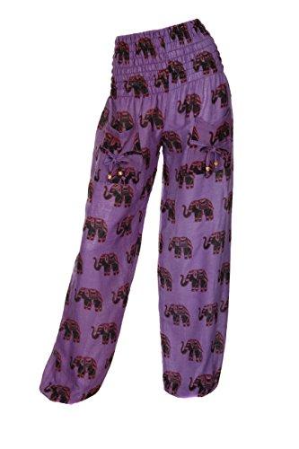 Pantalones hindúes harén con diseño de elefante morado