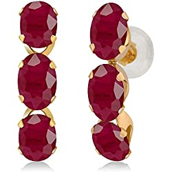 3.60 Ct Oval Red Ruby 14K Yellow Gold Earrings