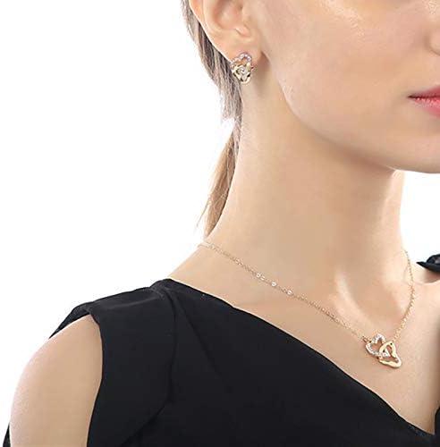 Shuda 1/Ensemble /él/égant Ensemble de Bijoux Femme Double c/œur Pendentif Collier Boucles doreilles Bagues Bracelets Ensemble Cadeau pour Mariage /év/énements f/ête 2.1 2.3cm Rose