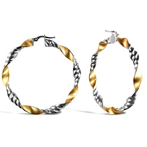 Jewellery World Bague en or jaune 9carats/or blanc poli Twist givré et boucles d'oreilles créoles