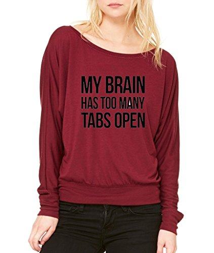 My Brain Has to Many Tabs Open Long-Sleeve I Need RAM Flowy Shirt Maroon 1030