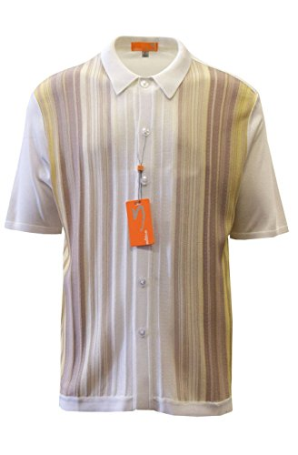 - Edition S Men's Short Sleeve Knit Shirt- California Rockabilly Style: Multi Stripes (3XL, White)