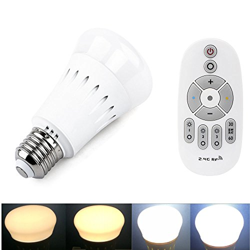Dimmable Light Bulbs 8W White Color Changing Group Bulb with Timing Remote Controller E26 Base Memory Wall Switch Control Bulb Light for Home Party and Holidy