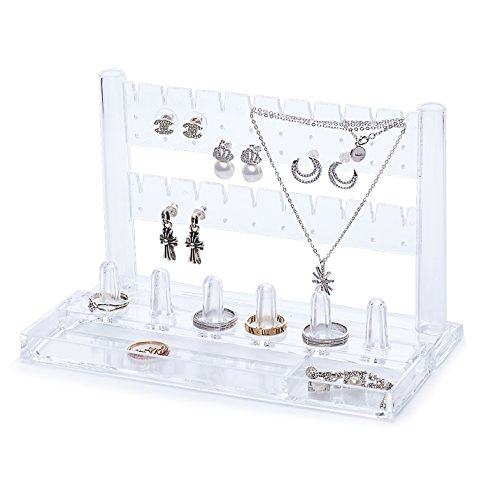 Acrylic Jewelry Display Stand 10 Necklace Hangers 6 Ring Holders with Bottom Tray 2 Parts Choice Fun (Sophisticated Halloween Nails)