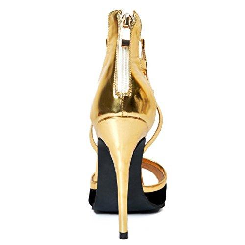 Kolnoo Womens Fashion Handmade High Heels Ankle Strap D'orsay Style Party Sandals Stiletto Shoes Gold 7ZKqPxwSj