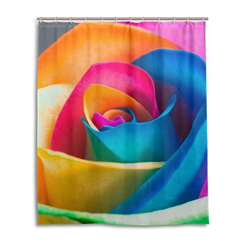 60 x 72 Inch Shower Curtain with Hooks, Make Your Own Real Rainbow Roses Decorative Bathroom Bath Curtains