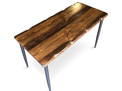 UMBUZ Solid Distressed Wood Metal Desk