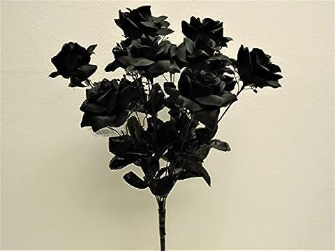 BLACK Open Roses Bush 12 Artificial Silk Flowers 20