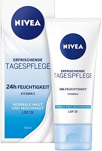 NIVEA Tagespflege 24h Feuchtigkeit + Frische Feuchtigkeitscreme mit LSF 15, Tagescreme für normale & Mischhaut (1 x 50 ml)