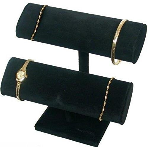 2 Tier Black Velvet T-Bar Bracelet Watch Jewelry Display Stand - Oval T-bar