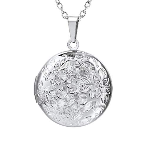 (U7 Stainless Steel Locket Jewelry for Women Chain 22 Inch Vintage Flower Engraved Round Photo Lockets Pendant Necklaces)