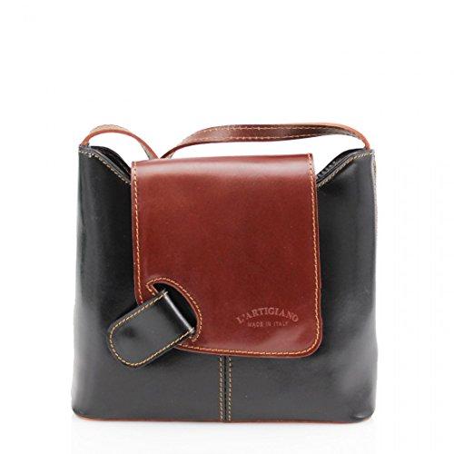 Mini Pelle Multi Italian Body Leather Black Handbag Tan Shoulder Vera or Small Cross Pocket Genuine Bag Bag Brown UwxSt6qW4