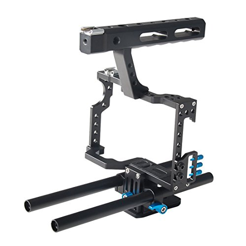 Annsm Professional Video Camera Cage with Hand Grip and Rail Rods for Sony A7s, A7, A7R, A72, A7RII, A7SII and Panasonic GH4 Camera with Blue Color by Annsm