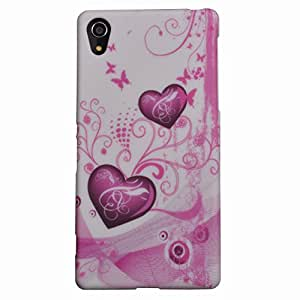 Einzige Colorful Soft Gel Flexible TPU Silicone Case Cover for Sony Xperia Z2 with Free Universal Screen-stylus (Purple Sea-Heart)