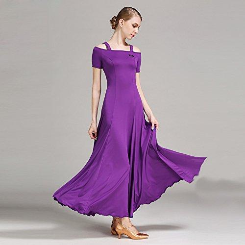 Correa De Moderna La Vals Manga Vestido Competencia Señora Ztxy Traje Falda Moderno Baile Corta Y Purple Péndulo Gran Tango RHqxCwRd