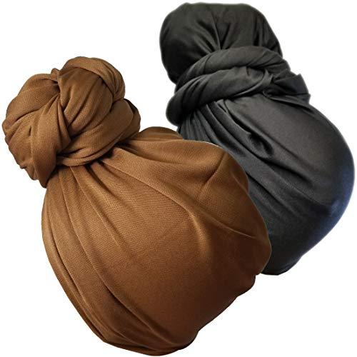 Stretch Head Wrap Scarf Turban - Long Black Hair Scarf Wrap Turban Head Scarf Tie 2pcs set or 1Pcs (1sd -