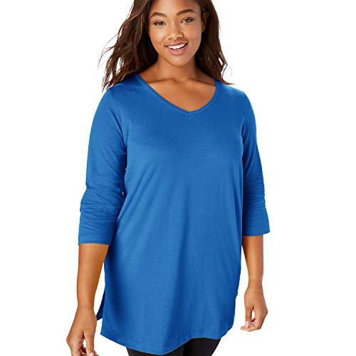 - Woman Within Women's Plus Size Perfect V-Neck Three-Quarter Sleeve Tunic - Bright Cobalt, 1X