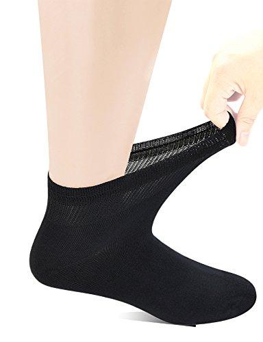 Yomandamor Men's Bamboo Diabetic Ankle Socks with Seamless Toe and Non-Binding Top,6 Pairs L - Top Socks Mens