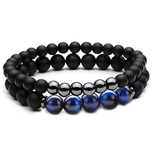 Eye Black Onyx - Dolovely 8mm Natural Stone Beads Bracelet for Men Women Black Matte Onyx Elastic Stretch Bracelet (Blue Tiger Eye)