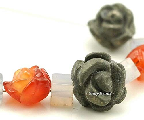 10X8MM-8X6MM RED Agate Pyrite Gemstone Carved Rose Flower Loose Beads 5 Beads, Beading, Jewelry Making, DIY Crafting, Arts & Sewing by Perfect Beads Store