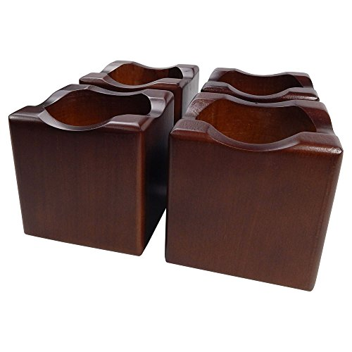 Tomokazu Storey Solid Wood in Walnut Finish 2 Inch Sofa, Table, Bed Riser Furniture Lifter Set of 4