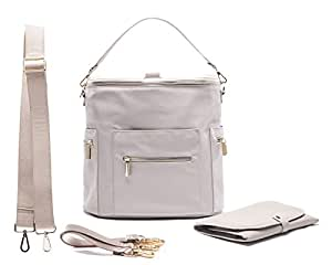 Diaper Bag by Miss Fong,Baby Diaper Bag Backpack with Changing Pad,Wipes Pouch,Diaper Bag Organizer,Stroller Straps and Insulated Pockets(Grey)