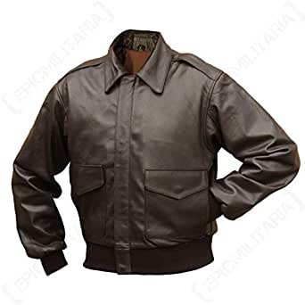 Epic Outdoor Chaqueta de Piel Color marrón US Pilotos A2 ...